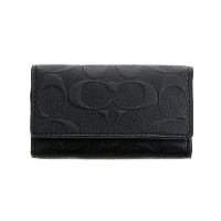 COACH OUTLET コーチ アウトレット キーケース F66293 BLK シグネチャー 4 リング 【ccoa】