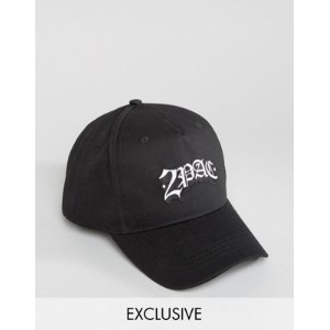 reclaimed vintage inspired baseball cap in black with 2pac logo 黒 インスパイア ヴィンテージ イン キャップ ロゴ 帽子 ブラック...