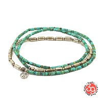 Sunku/39/サンクSK-085 Silver & Turquoise Beads Long Necklace W/Peace ネックレス/ブレスレット/アンクレットSilver925...