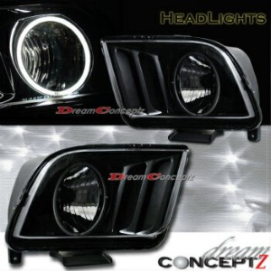 フォード マスタング ヘッドライト 2005-2009 FORD MUSTANG GT HEADLIGHTS CCFL RIM ANGEL EYES BLACK STYLE PAIR 2005...