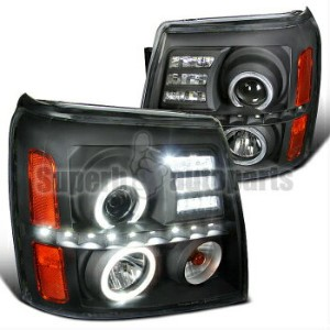 クライスラー キャデラック ヘッドライト 2002-2006 Cadillac Escalade LED Dual Halo Headlights Head Lamps Black 2002...
