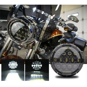 "ハーレー ヘッドライト 7 ""モーターサイクルブラックプロジェクターDAYMAKER HID LEDライトBULB HEADLIGHTハーレーにフィット 7"" MOTORCYCLE BLACK PROJECTOR DAYMAKER HID LED LIGHT BULB HEADLIGHT Fits Harley"