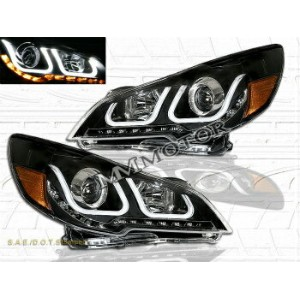 スバル レガシー ヘッドライト 2010-14 SUBARU OUTBACK / LEGACY U SHAPE HALO PROJECTOR LED SIGNAL HEADLIGHTS BLK...