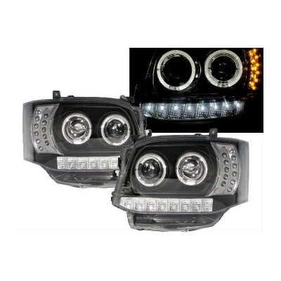 トヨタ ハイエース ヘッドライト HIACE H200 2010-2014 Angel-Eye Projector Headlight LED DRL R8 BLACK TOYOTA LHD...