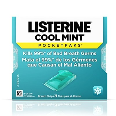 リステリン Listerine Pocketpaks Breath Strips Cool Mint 24-Count (Pack of 12)