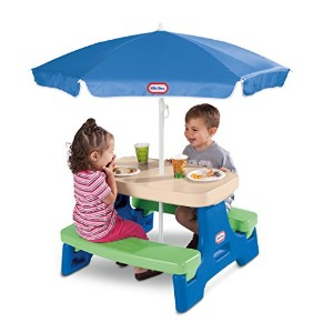 Little Tikes Easy Store Junior Picnic Table with Umbrella, Blue/Green by Little Tikes