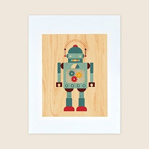 Petit Collage Unframed Print on Wood Wall Decor, Robot Blue, Small by Petit Collage