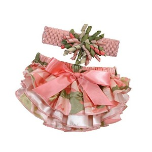 Stephan Baby Ruffled Diaper Cover and Curly Bow Headband Set, Pink Camo, 12-18 Months by Stephan...