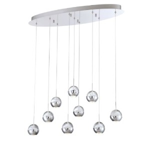 Eurofase照明25666 Ice 9ライトモダンLED Linear Pendant with Round Seedy G、 25666-014 1