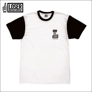 LOSER MACHINE/ルーザーマシーン 2016'FALL DEALERSHIP Two Tone sleeves Tee/Tシャツ・WHT/BLK