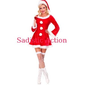 【即納】MUSIC LEGS 3 pc. long sleeve marabou trimmed sleigh hottie dress includes: santa sack and hat ...