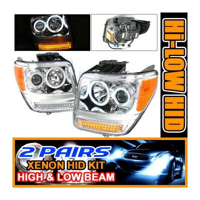 Dodge Nitro ヘッドライト 2 Set HID 07 + Dodge Nitro CCFL Halo Projector Headlight 2セットは07 +ダッジ・ナイトロCCFLヘイロ...