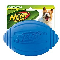 【Nerf Dog Squeak Ridged Rubber Football Dog Toy Medium/Large Blue by Nerf Dog】 Nerf Dog Squeak...