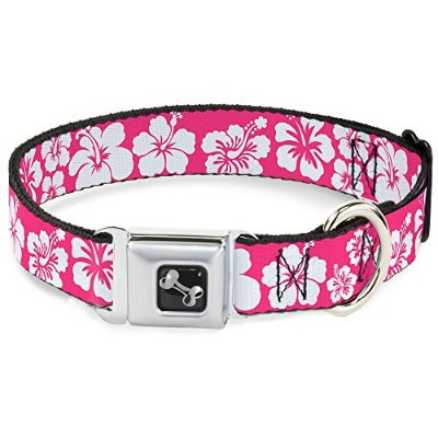 Pink White Hibiscus Seat Belt Buckle Dog Collar 1 15-26 by Buckle Down