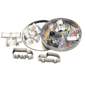 Set Of 7 Transport Shaped Cookie Cutters In Storage Tin