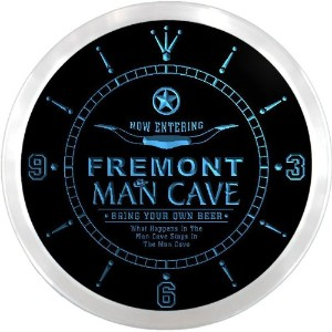 LEDネオンクロック 壁掛け時計 ncpb2145-b FREMONT Man Cave Cowboys Beer Pub LED Neon Sign Wall Clock