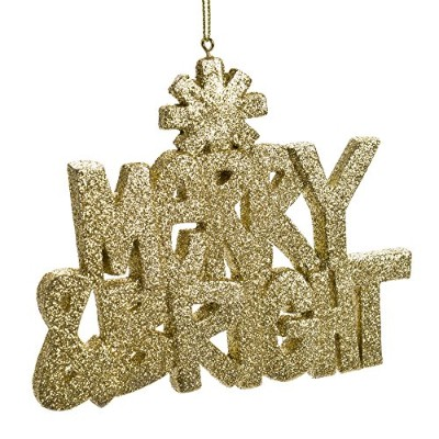 Merry & Bright gold-colored Glitter Hangingクリスマスオーナメント