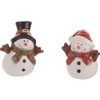 セラミックSnowmen Salt and Pepper Shakers