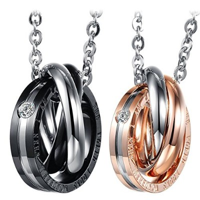 Cupimatch 2PCS Triple Rings Interlocking His & Her Matching Set Stainless Steel Couples Pendant...