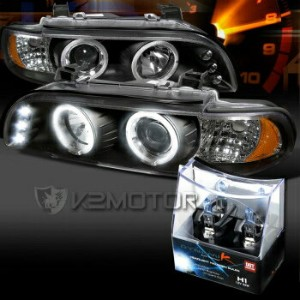 BMW ヘッドライト 01-03 BMW E39 525I 530I Black LED Halo Projector Headlights+H1 Halogen Bulbs 01-03 BMW...