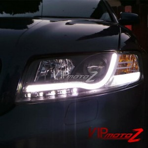 アウディ ヘッドライト 2002-2005 AUDI A4/S4 Euro Black Projector Headlight+LED Neon DRL Running Lamps...