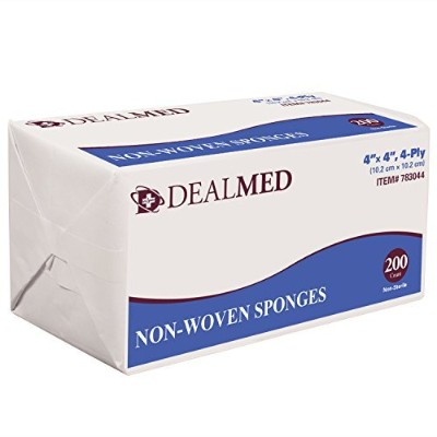 Dealmed Gauze Pads, N/S, Non Woven, 4 x 4, 4 Ply, 200/Bx by dealmed