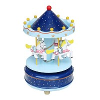 BXT木製回転木馬ミュージカルボックス4-horse Figurine回転カルーセル音楽ボックスwith Tune Castle in the Sky Great for Kids子供誕生日クリスマス...