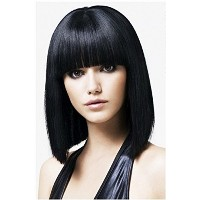 B-G Charming Hair Wig 15'' Bob Wigs Short Straight with Flat Bangs Wigs for Women Natural As Real...