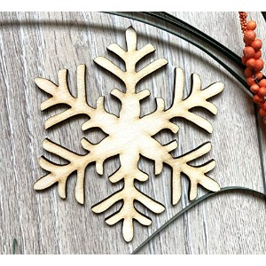 Wooden Christmas Snowflake 10 Tree Hanging Decor Ornament Shapes Embellishments (20cm, 25)