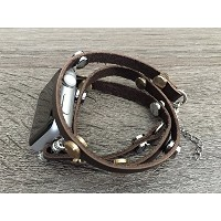 Brown Leather Bracelet For Apple Watch Series 1 2 & 3 (42mm) Handmade Multi Wrap Band Two Toned...