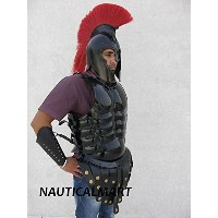 Leather Muscle Armour with Troy Helmet Halloween Costume W/red Plume by NAUTICALMART [並行輸入品]
