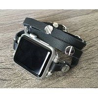 Black Leather Bracelet For Apple Watch Series 1 2 & 3 (42mm) Handmade Multi Wrap Band With Silver...