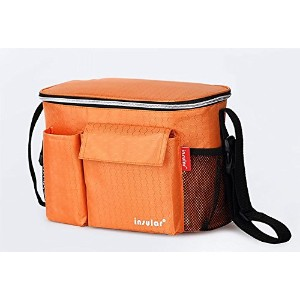 SANGYN nd005Insulated Lunchバッグピクニッククーラーバッグ–耐久性ナイロン、Zip Closure オレンジ ND005