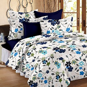Cotton for Single Bed with 1 Pillow Cover, Blue