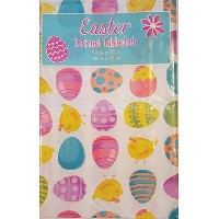 Colored Easter Eggs And ChicksビニールテーブルクロスwithフランネルBack 52x70