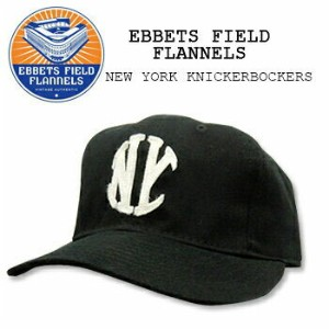 【即納】EBBETS FIELD FLANNELS(エベッツ フィールド フランネルズ) [#11] BASEBALL CAP Black NEW YORK KNICKEBOCKERS 1912...