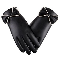 Zhhlaixing 高品質 Elegant Womens Bowknot Touchscreen Gloves Winter PU Leather Waterproof Warm Gloves...