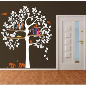 Pop Decors Removable Vinyl Art Wall Decals Mural, Shelving Tree with Squirrels by Pop Decors