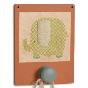 Tree by Kerri Lee Wuzzy Wall Hook Elephant, Orange/Green by Tree by Kerri Lee