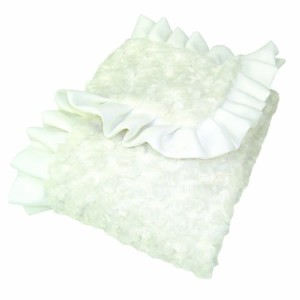 Trend Lab Swirl Velour Ruffle Trimmed Receiving Blanket, White by Trend Lab