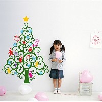 PopDecors Wall Decals & Stickers - Happy Christmas Tree Wall Decal (59H) -Holiday Sticker Kids Love...