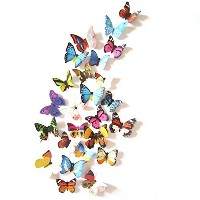Amaonm? 19 Pcs Removable Diy Pvc 3d Colorful Butterfly Wall Sticker Murals Wall Decals Wall...