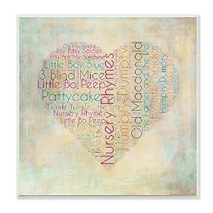 The Kids Room by Stupell Textual Art Wall Plaque, Nursery Rhymes Heart by The Kids Room by Stupell