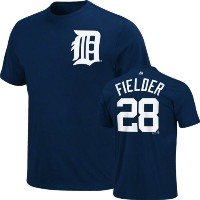 Prince Fielder BIG & TALL Navyデトロイトタイガース# 28 Name & Number Tシャツ