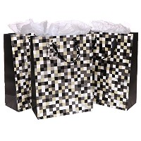 MyGift Cool Pixels Style Party / Birthday Gift Bags and Tissues - Set of 3 by MyGift