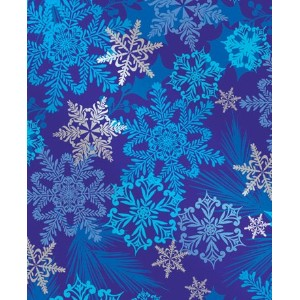 Snowflake Swirl Metallic Gift Wrap Flat Sheet 24 X 6' - Holiday Gift Wrapping Paper by Premium Gift Wrap