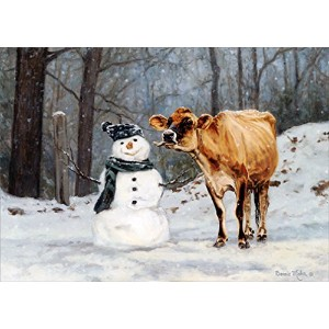 Cow and Snowman - LPG Box of 18 Christmas Cards by LPG Greetings