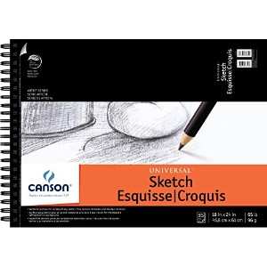 """Canson Universal Heavy-Weight Sketch Pads - 18""""x24"""" (35 sheets, top-spiral)"""