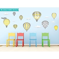 Sunny Decals Hot Air Balloons Fabric Wall Decals, Standard, Yellow by Sunny Decals