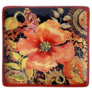 Certified International Watercolor Poppies Square Platter、12.25インチ、マルチカラー